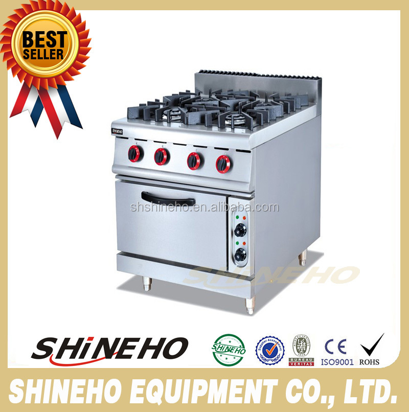 Restaurant Equipment 4-Burner Gas Cooking Range With Electric Oven