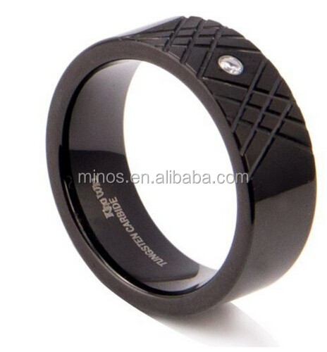Men's 8mm Black Tungsten Ring with Crisscross Pattern Single Cz Cubic Zirconium