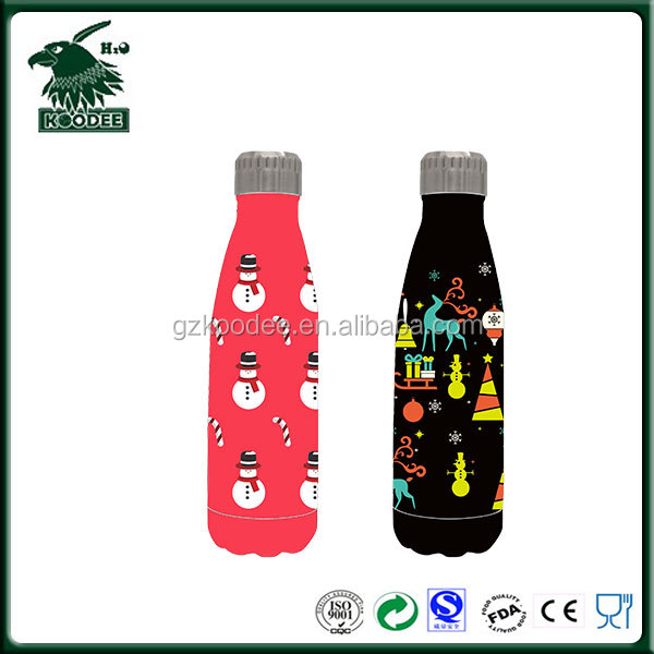 2017 Christmas Snowman Picture Double Wall Vacuum BPA Free 500ml Cola Bottle Insulated Stainless Steel 304 Drink Bottle