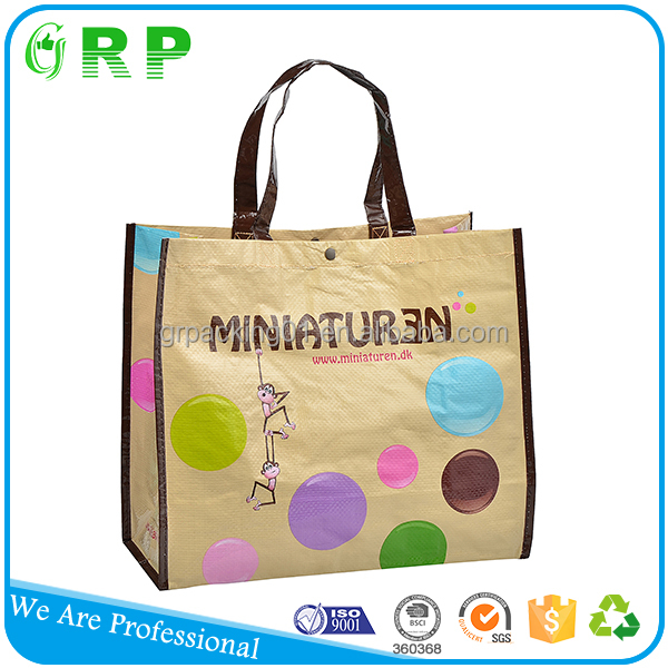 Personalized design reusable shopping recycled pp woven bag