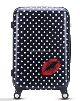 lovely dot printing abs+pc spinner luggage 3 pcs set