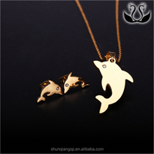 Cheap Wholesale Blank Jewelry Cute Dolphin Shaped Pendant Earring Jewelry Set
