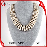 New products 2016 stainless steel necklace chain large baroque pearls necklace
