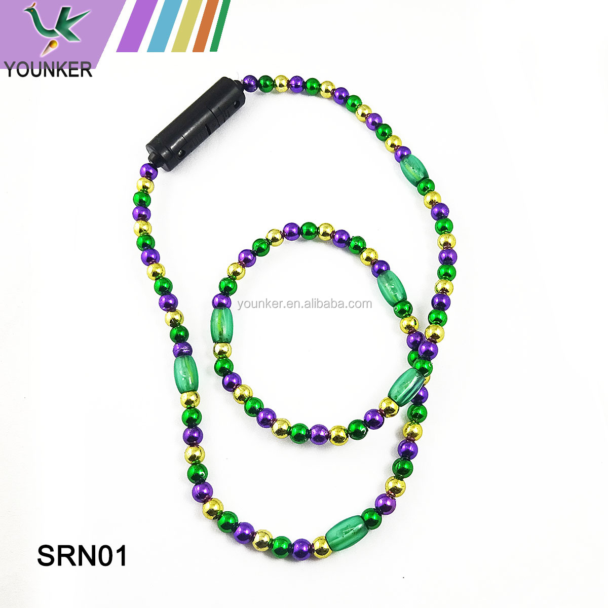 Hot sale LED flashing mardi gras necklace wholesale plastic Carnival bead necklace