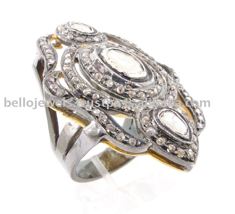 Rose Cut Diamond Gemstone Ring, Antique Style - PayPal