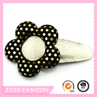 Magic Glitter Skin Plastic PU Leather Flower Snap Gold Hair Clips for Girls/