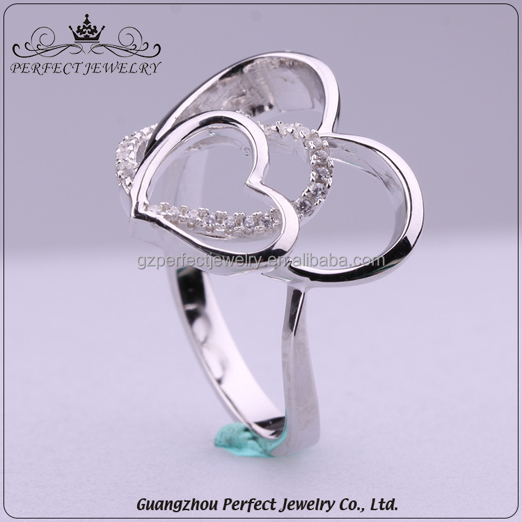 China Supplier Custom Best Price Fashion Design 925 Silver Heart Shaped Ladies Ring With Cz