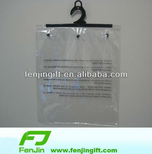 manufacture clear pvc hook bag for garment