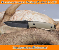 stone wash fixed blade rescue knife small knives 59HRC Tactical outdoor tools with genuine leather sheath 6594
