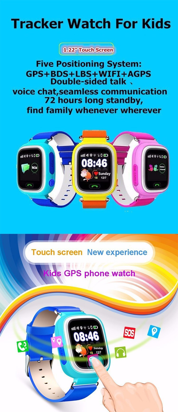 TD-02 1.22' Colorful Touch TFT screen GPS AGPS LBS WIFI position tracking SOS phone calling Supported gps watch