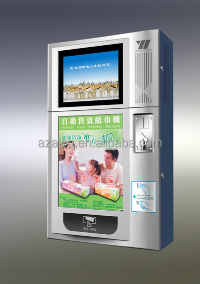 LCD online management vending machine for tissue/condom/candy gum with coin payment