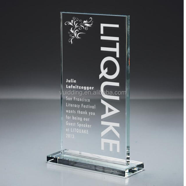 Rectangle Printing Crystal Plaque Awards For Table Top