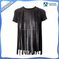 short sleeve ladies black OEM customized tshirt plain women 100% cotton manufacturing company with leather fringe trim