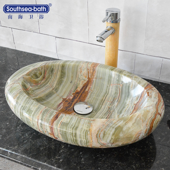 Shell shape Green onyx hot sale china factory natural stone bathroom sinks