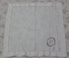 pure linen white dot hemstitch napkins with monogramming R