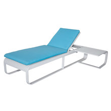 waterproof blue relaxing recliner outdoor chaise lounge chair and table malaysia Aluminium Garden Rattan sunlounger