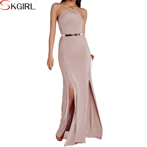 2015 elegant fat women sexy back open plus size sleeveless Plunge deep v neck halter neck maxi evening dress with Gold Necklace