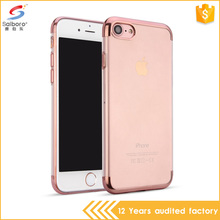 Hot selling ultra thin three-stage electroplated clear tpu smart phone case for iPhone7