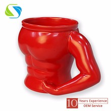 2016 new creative design christmas promotional custom logo full printed muscle man ceramic mug cup 350ml