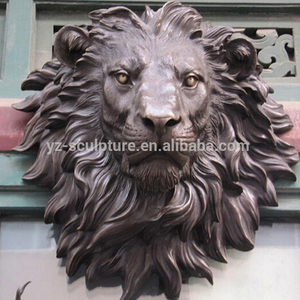 Casting bronze lion head sculpture decoration on the wall