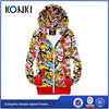 Colorful printing zip over hoodies