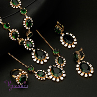 bridal natural emerald diamond jewelry set In solid 18k gold pendant earrings