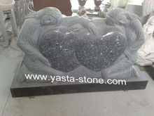 Blue Pearl Double Heart Shape Granite Tombstones
