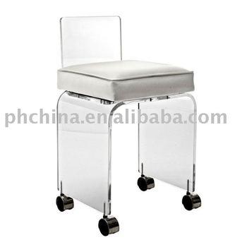 Fw623 Clear Acrylic Swivel Vanity Chair With Cushion