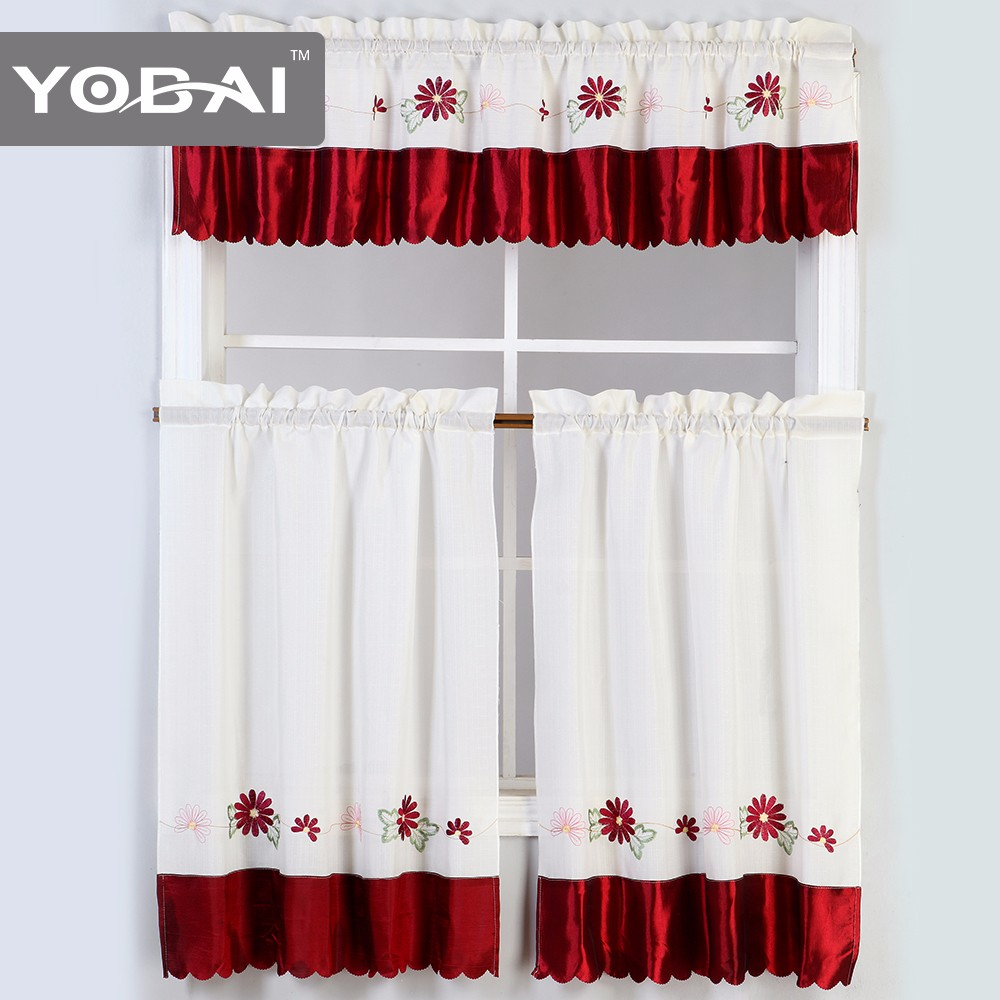 Custom Beautiful Cafe 100 Polyester Imported Modern Kitchen Curtains