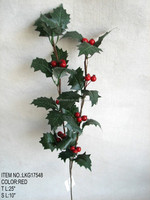 "High Quality Popular Artificial Berry Pick Christmas 25"" Berry Pick With Holly Leaf Ornament for Christmas house Decoration"