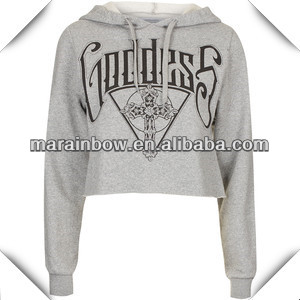 2014 fashion design ladies' grey long sleeve cropped pullover hoodie bulk wholesale