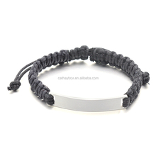 Men's Hand Braided Bracelet With High Polished Stainless Steel Blank ID Plaque