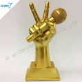 Resin Hand Microphone Gold Color Trophy For Sing Match Events