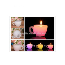 Mug Shape LED Color Changing Candle With Flame