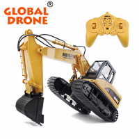 HuiNa Toys 1550 15 Channel 2.4G RC Metal Excavator Charging 1:12 RTG electric toy excavator rc construction toy trucks excavator