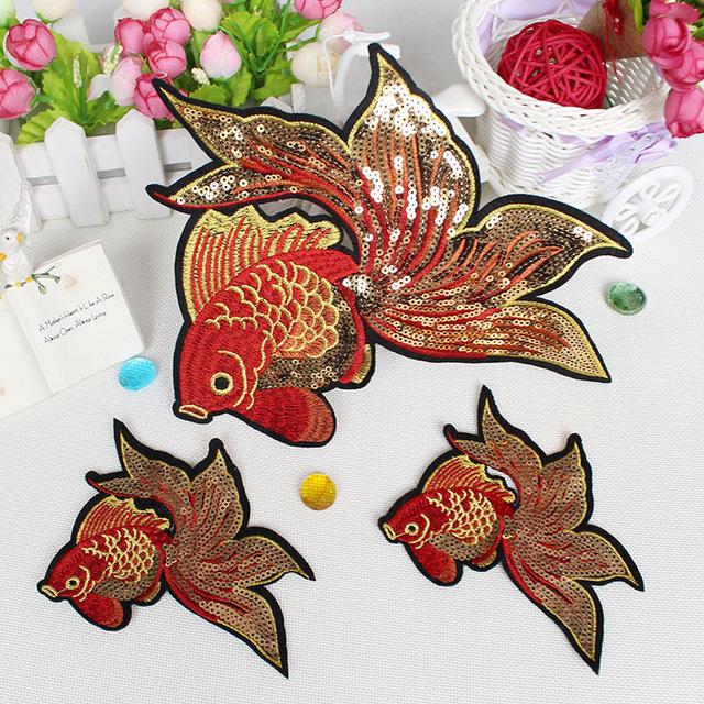 Wholesale Fashion Gold Fish Patch Iron On Cloth Iron On Cloth