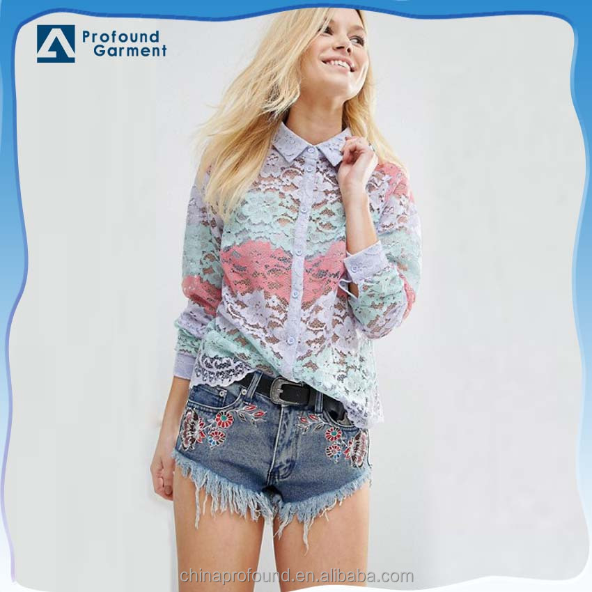 latest fashion blouse design stripe lace blouse and shirt for ladies long sleeve custom design print