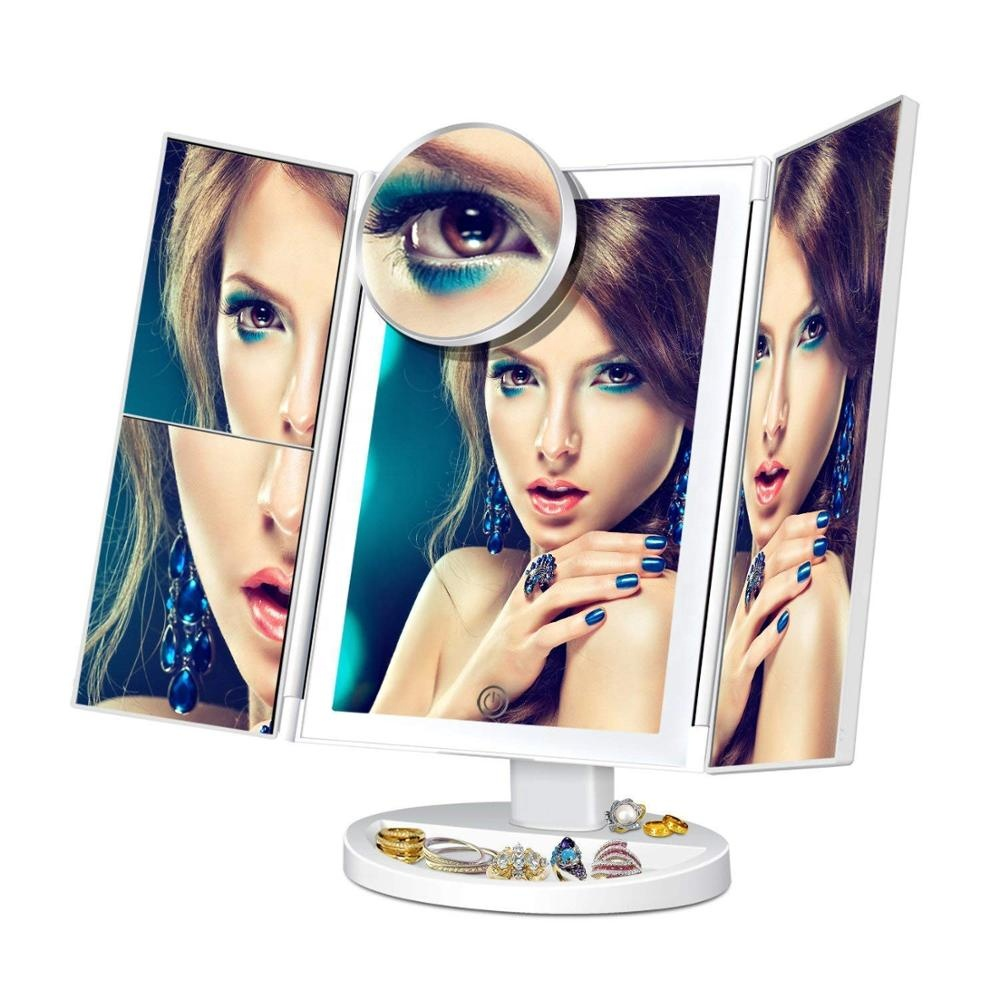 New 2019Vanity Makeup Mirror Trifold 36 LED Lighted with <strong>Touch</strong> <strong>Screen</strong> 180Adjustable Stand for Countertop Cosmetic Makeup mirror