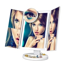 New 2019Vanity Makeup Mirror Trifold 36 LED Lighted with Touch Screen 180Adjustable Stand for Countertop Cosmetic Makeup mirror