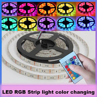 led RGB changeable strip light 12v DC waterproof 5m 5050SMD 60LED/ m flexible ropelight