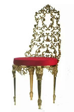 Designer Design Antique Gold Gilt Wedding Chair, Exquisit Brass Carved Dining Chair, French Rococo Art Decor Chair