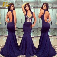 New Collected Sexy Backless Jersey Long Mermaid Women Prom Photos Dress