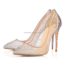 2017 women pointed toe transparent net yarn rhinestone shining formal glitter stiletto wedding slip on pumps highheel shoes