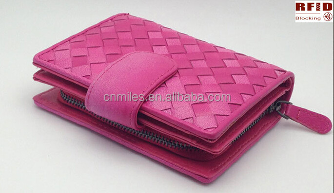 Imported TOP Grain Cow Leather RFID Blocking Hand Weave Women Wallet/lady purse