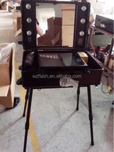 Professional Makeup Trolley Luggage Case lighted professinal makeup cases,make up case with light