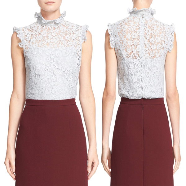 Hot sale sleeveless lace top and ruffled collar white top formal tops and blouses