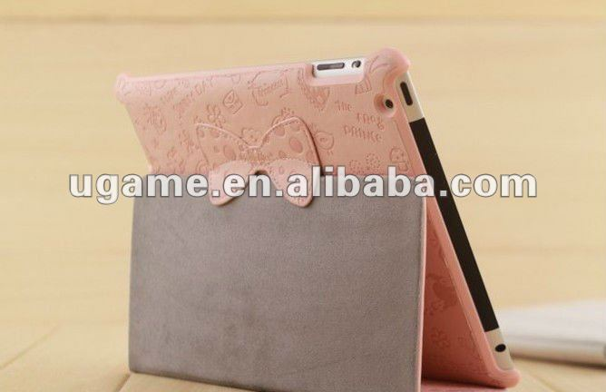 Cute Little Witch Leather Smart Case Cover Stand for iPad 2 3 With Bow Tie Stand