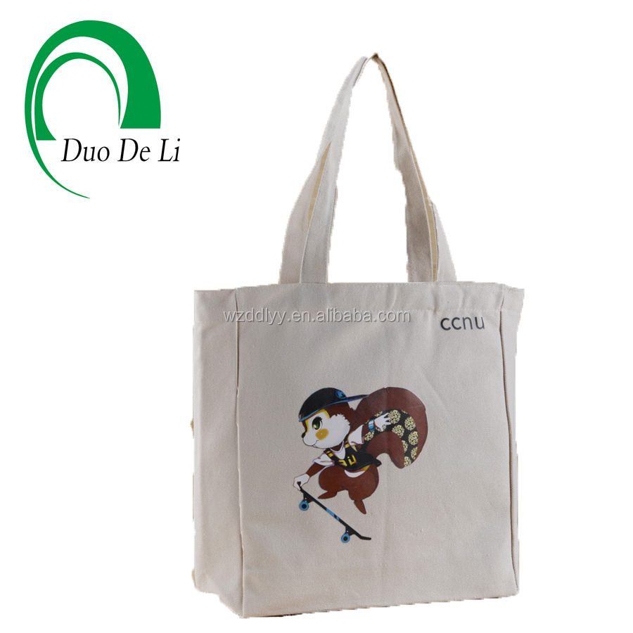 Green Top Quality Professional Heat transfer Printed Cotton tote bag