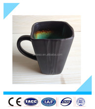 Square 14oz cheap stoneware ceramic soup/coffee/tea mug with handle from China manufacturer