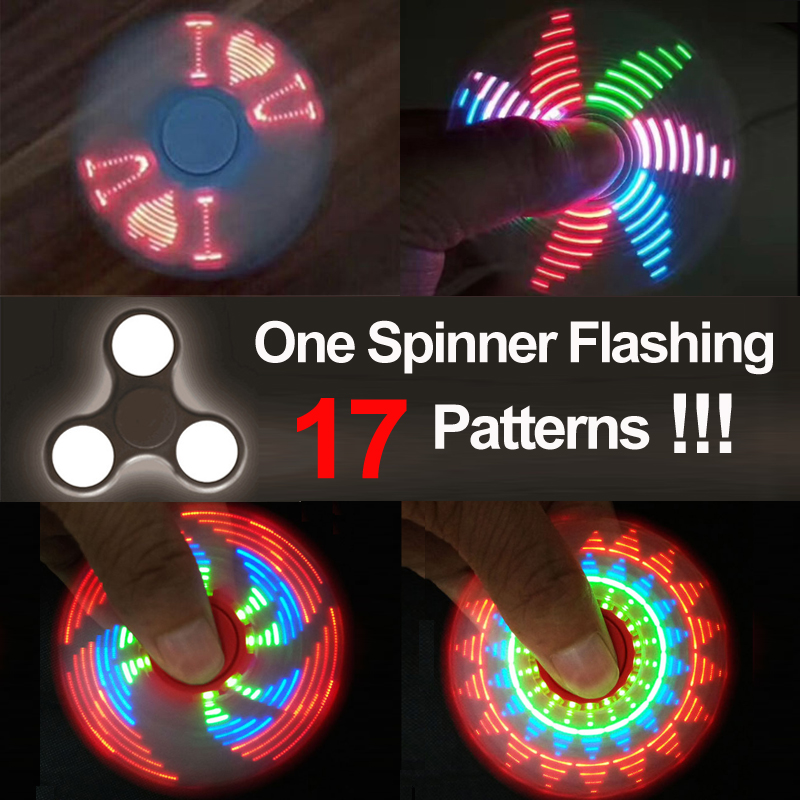 2017 Newest 18 pattern LED Fidget Spinner/hand spinner toy finger spinner